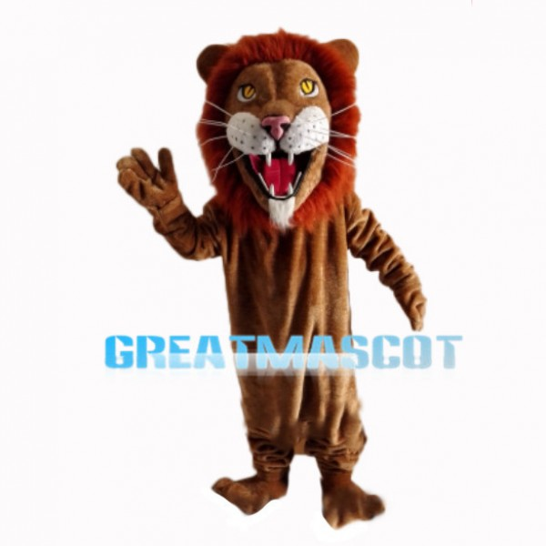 Scary Lion With Red Brown Mane Mascot Costume