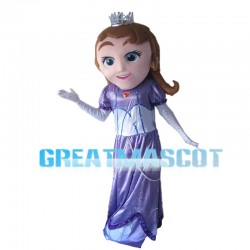 Brown Hair Princess With Crown Mascot Costume