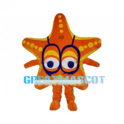 Orange Starfish Wearing Glasses Mascot Costume