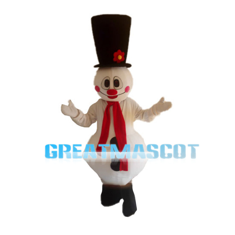 Snowman With Red Blush Mascot Costume