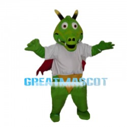 Green Dragon With Red Wings Mascot Costume