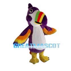 Purple Parrot With Multicolored Beak Mascot Costume