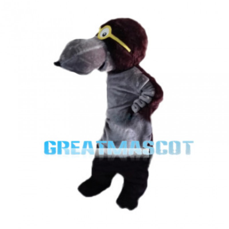 Long Mouth Wolf With Yellow Glasses Mascot Costume