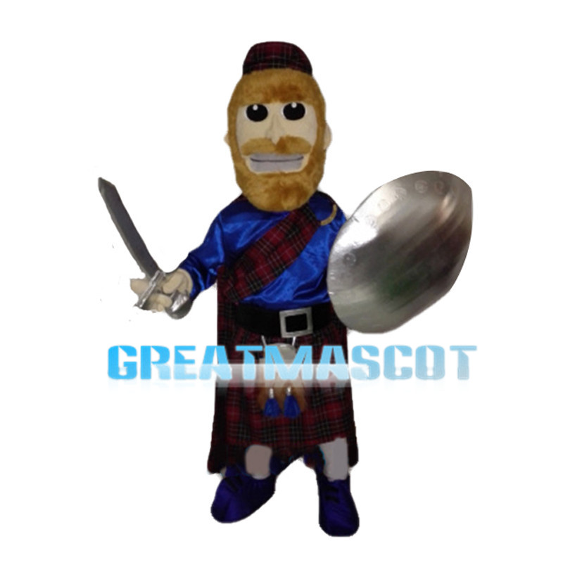 Warrior Holding Silver Weapon And Shield Mascot Costume