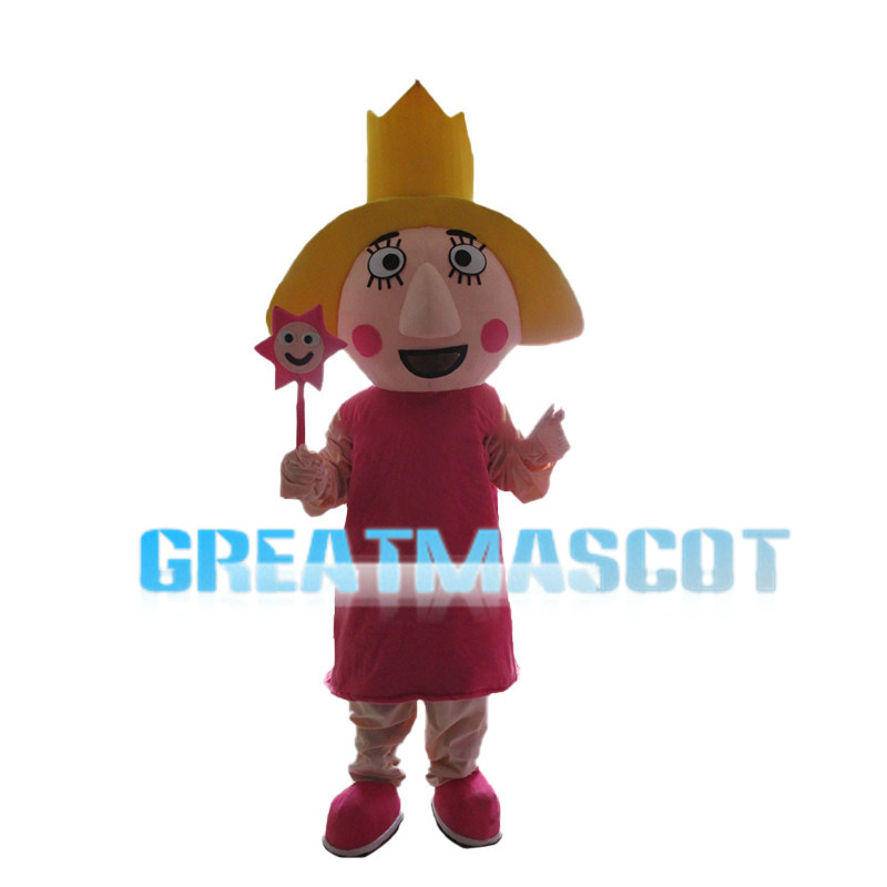 Yellow Hair Girl With Crown Mascot Costume