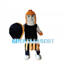 Orange Warrior With Shield Mascot Costume
