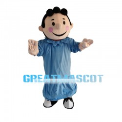Curly Little Boy With Blue Set Mascot Costume