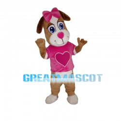 Delighted Dog With Pink Heart Mascot Costume