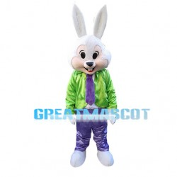 Easter Bunny In Green Coat Mascot Costume