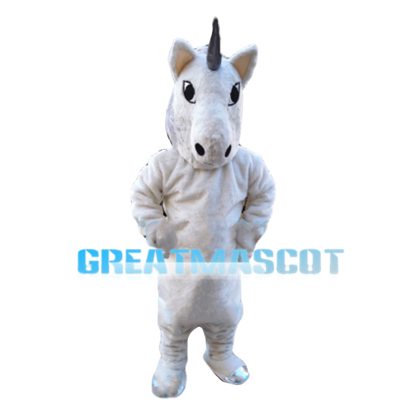All White Horse With Grey Horn Mascot Costume