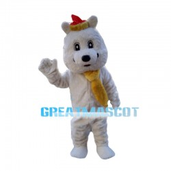 Festive Bear With Yellow Scarf Mascot Costume