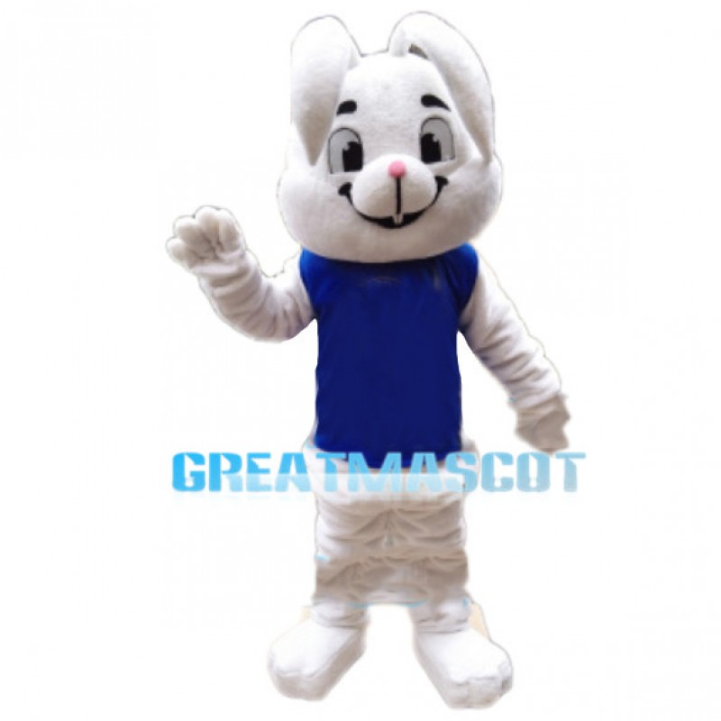 Smiling Lop-eared Rabbit With Blue Vest Mascot Costume