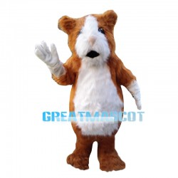 Amicable Hairy Brown & White Chipmunk Mascot Costume
