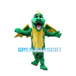 Sinewy Green Dragon With Wings Mascot Costume