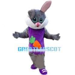 Rabbit Wearing Carrot Printed Vest Mascot Costume