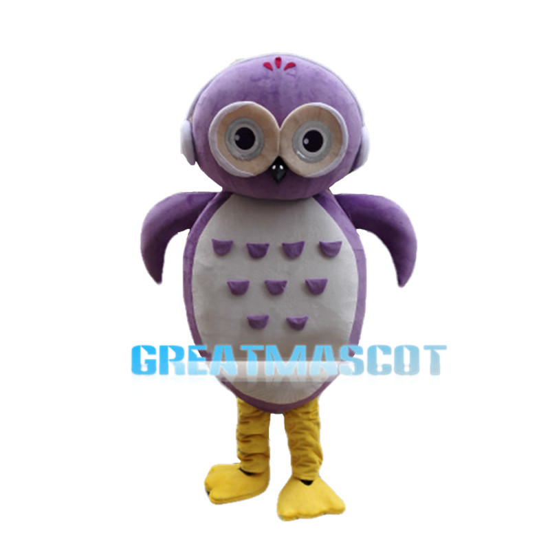 Cherubic Cartoon Purple Owl Mascot Costume