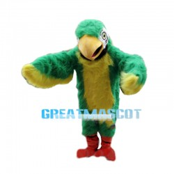 Green & Yellow Hairy Eagle Mascot Costume