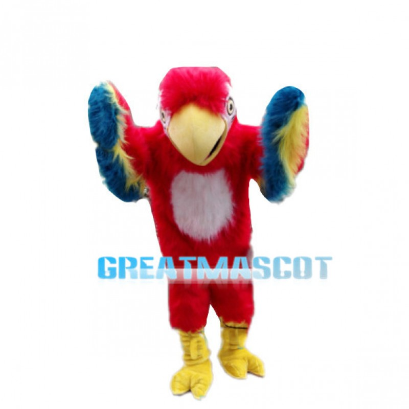 Long Fur Bird With Colorful Wings Mascot Costume