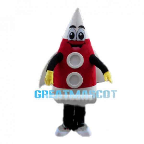 Red Cartoon Fired Rocket Mascot Costume