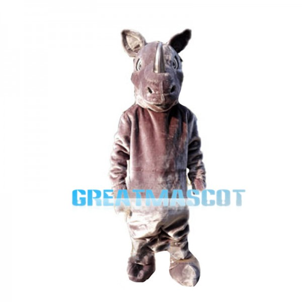 Beefy Rhino With Silver Horn Mascot Costume