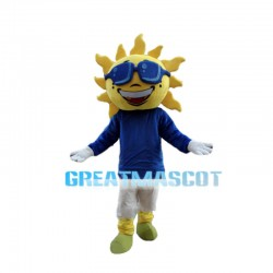 Brilliant Sun With Blue Glasses Mascot Costume