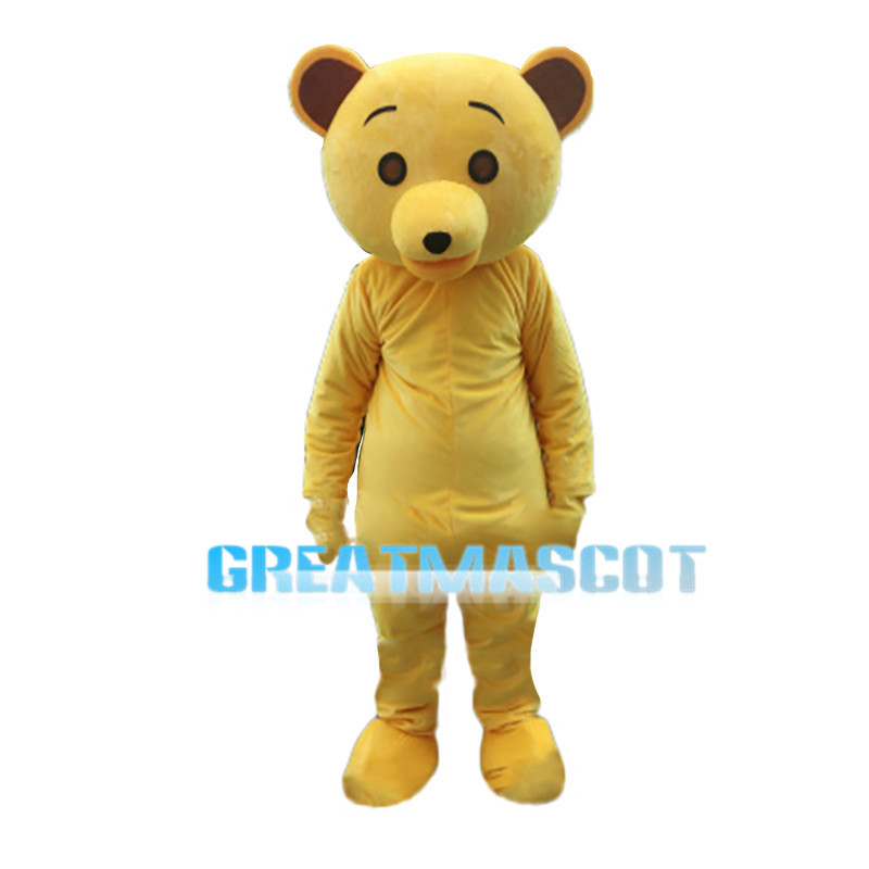 Yellow Bear Mascot Costume For Birthday Party