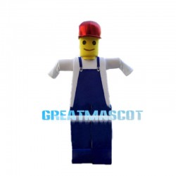 Lego Man With Red Cap Mascot Costume