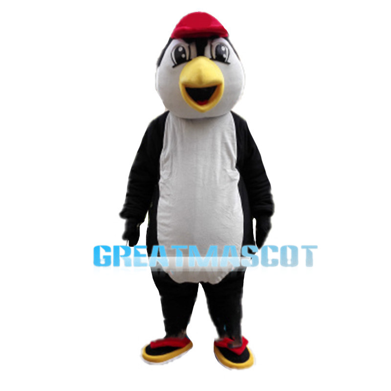 Penguin Wearing Red Cap Mascot Costume