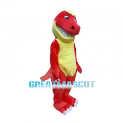 Toothy Red Dinosaur Cartoon Mascot Costume