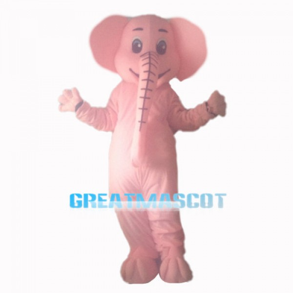 Cute Long Nose Pink Elephant Mascot Costume