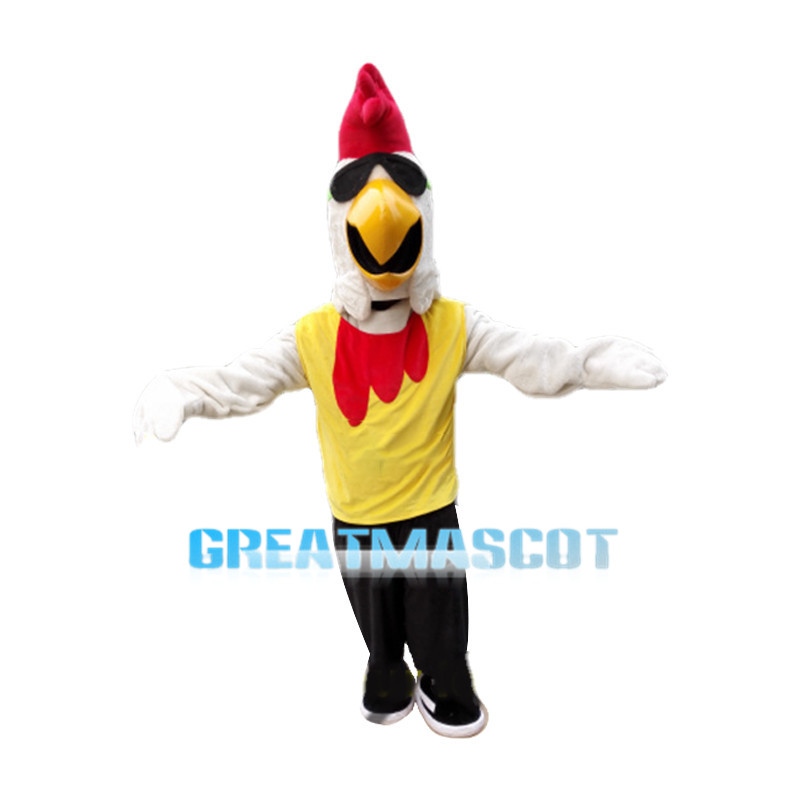 Cool White Rooster Mascot Costume Fancy Dress Animal Mascot Costume