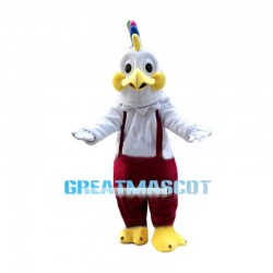 Colorful Cockscomb White Rooster Mascot Costume