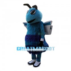 Long Fur Blue Bee Mascot Adult Costume