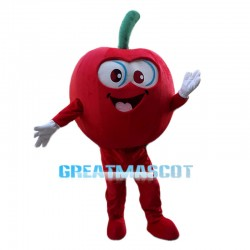 Complacent Cartoon Red Apple Mascot Costume