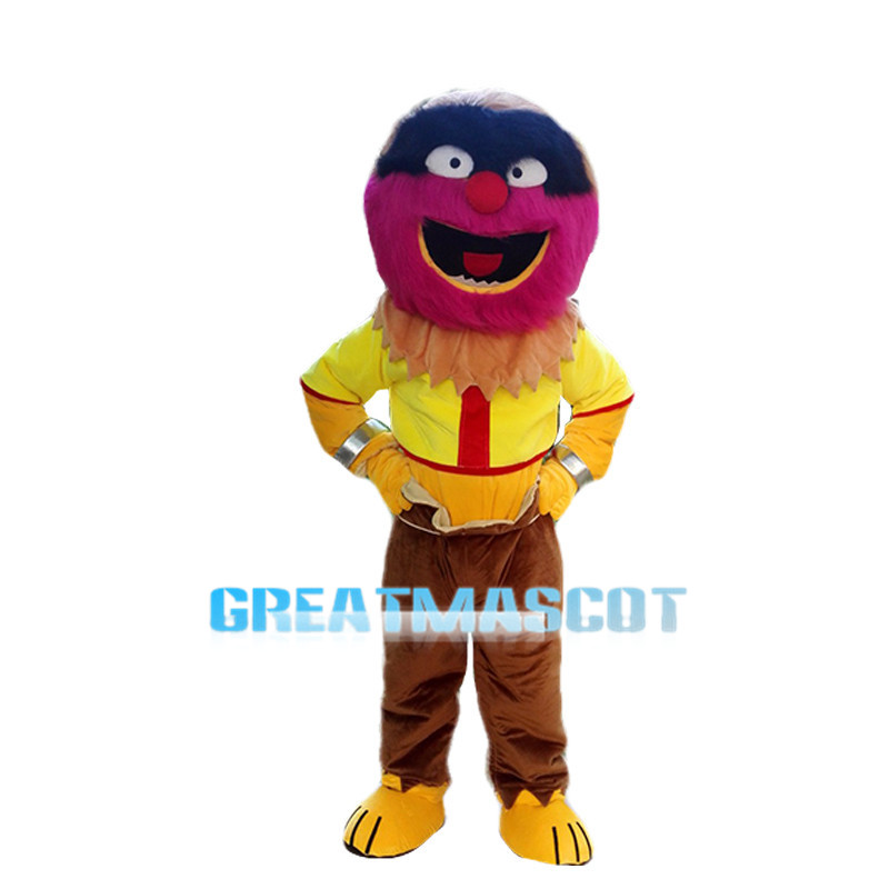 Smiling Colorful Fur Monster Mascot Costume