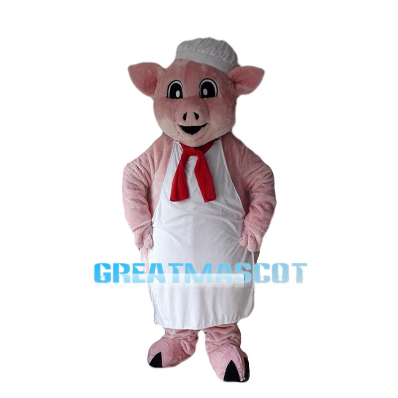 Cute Cartoon Pink Pig Chef Mascot Costume