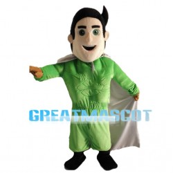 Courageous Green Superhero Mascot Costume