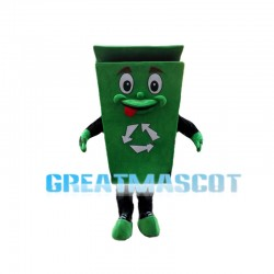 Mischievous Cartoon Green Recyclable Trash Can Mascot Costume