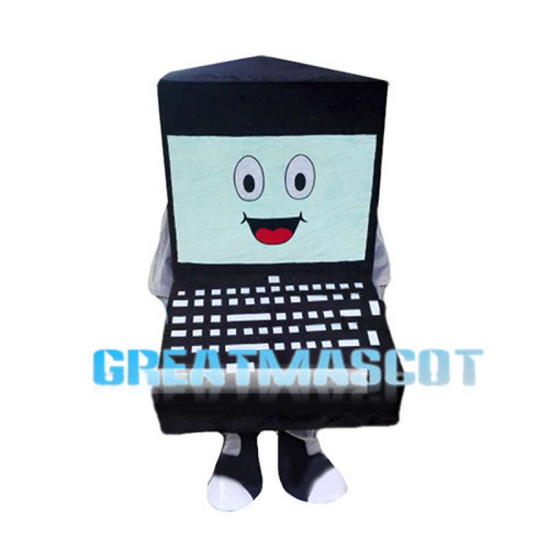 Cartoon Black Laptop Mascot Costume