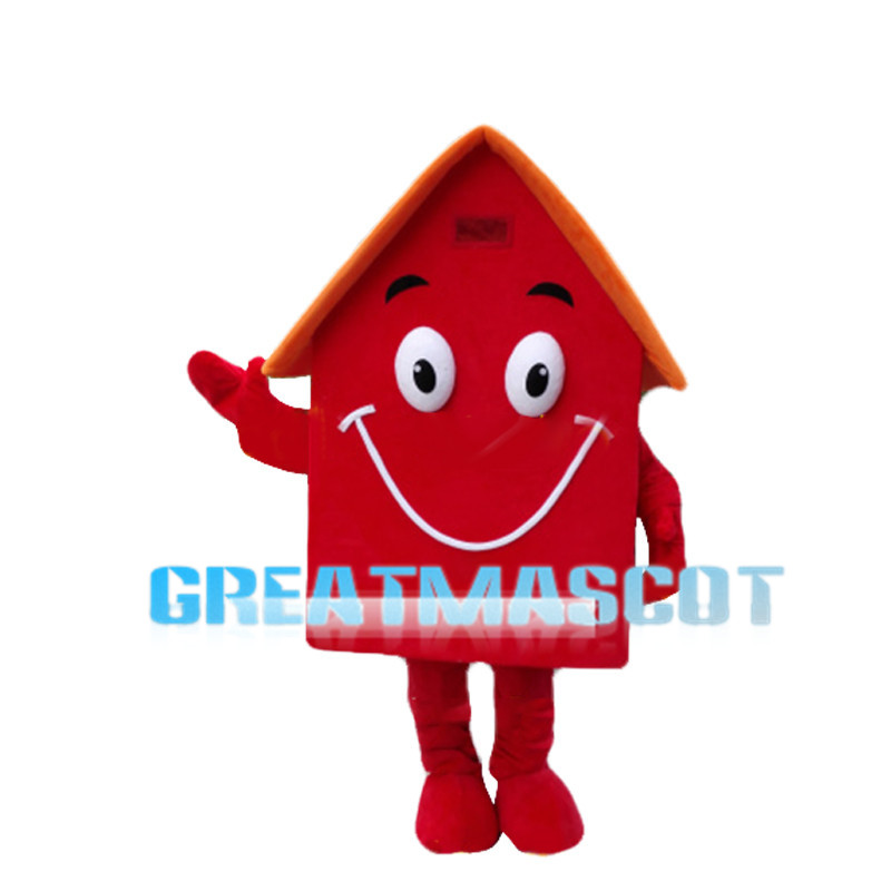Deluxe Cartoon Red House Mascot Costume
