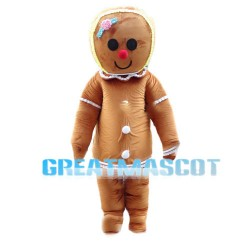 Huge Cartoon Christmas Gingerbread Girl Cookie Mascot Costume
