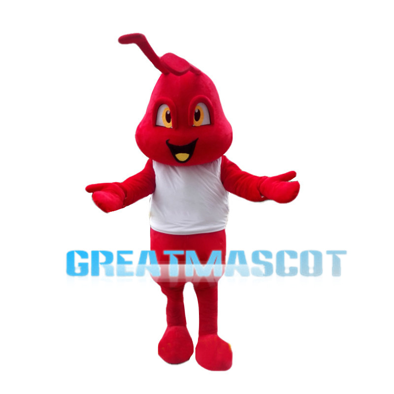 Cheering Cartoon Fire Ant Mascot Costume