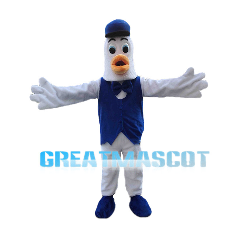 Cartoon White Goose Waiter Mascot Costume