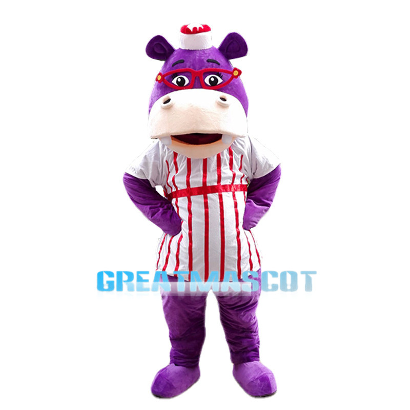 Sweet Cartoon Hallie McStuffins the Purple Hippopotamus Mascot Adult Costume