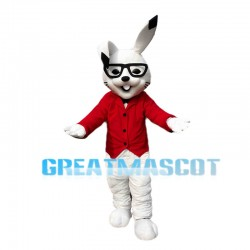Cheerful Cartoon White Rabbit Mascot Costume