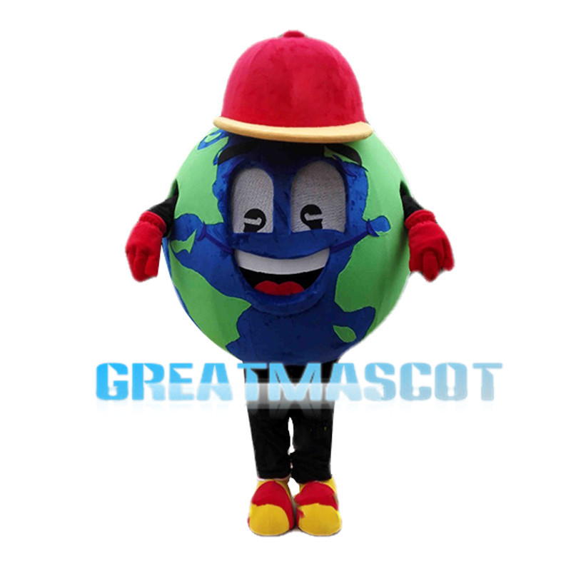 Optimistic Cartoon Earth With Red Hat Mascot Costume