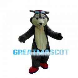 Courageous Gray Wolf Pilot Mascot Costume