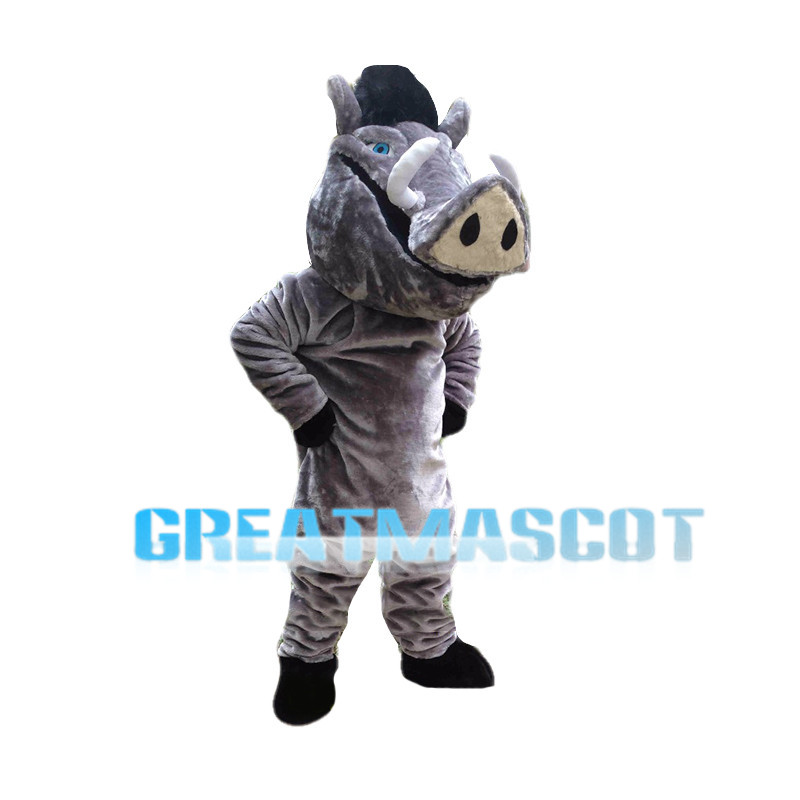 Gray Boar Mascot Costume