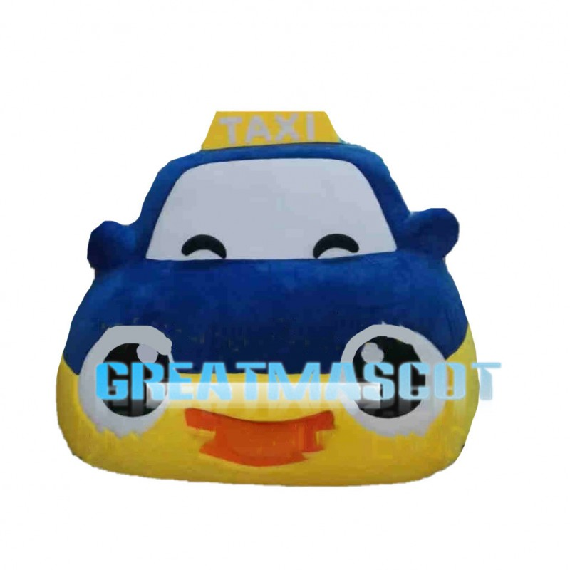 Cute Cartoon Purple Taxi Car Mascot Costume