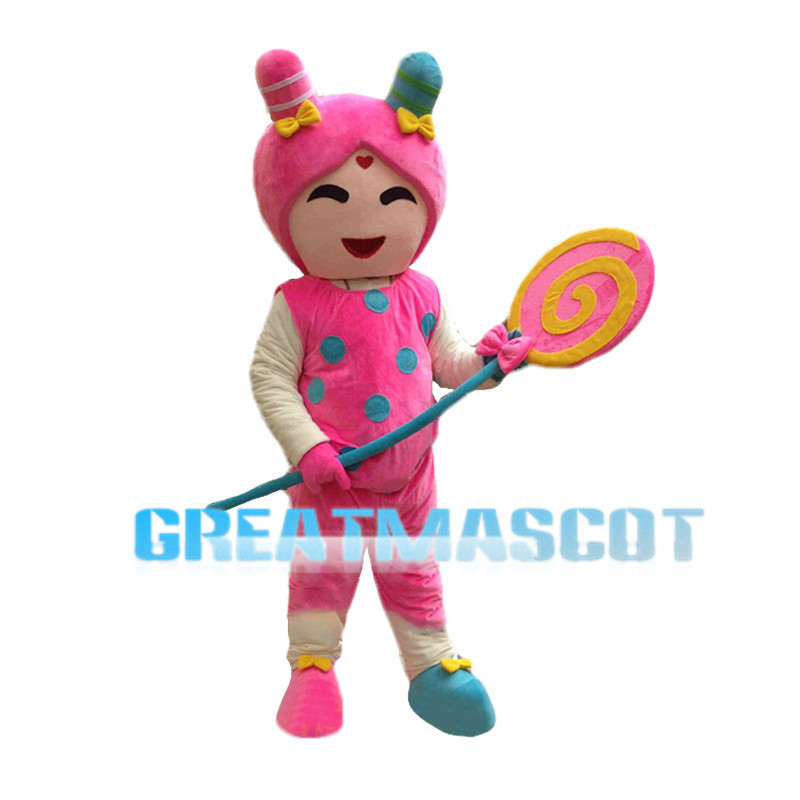 Cute Pink Candy Girl Mascot Costume